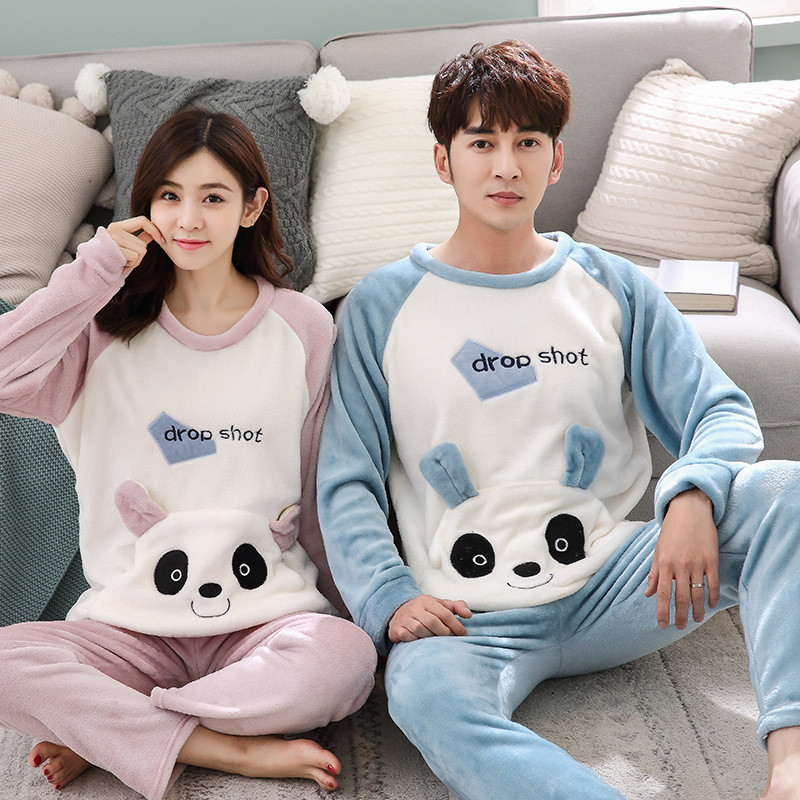 JULY'S SONG Flannel Couple Pajama Sets Animal Cute Winter Men And Women Pajamas Thick Warm Sleepwear Long Sleeves Homewear