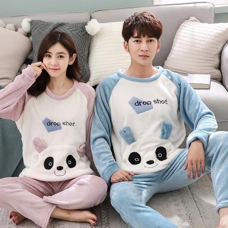 JULY'S SONG Flannel Couple Pajama Sets Animal Cute Winter Men And Women Pajamas Thick Warm Sleepwear Long Sleeves Homewear