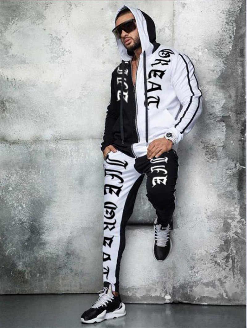 男性のパーカー + パンツセット 2 個秋のランニングトラックスーツメンズシャツスポーツセット体操着の男性スポーツスーツ男性パーカースーツ