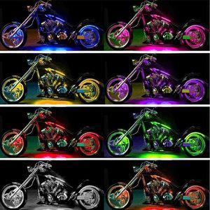 Image 2 - 12pcs Motorcycle LED Neon Strip Lamp RGB 15 colors Remote Control Under Glow Lights 5050SMD LED Car Decorative Light Strip