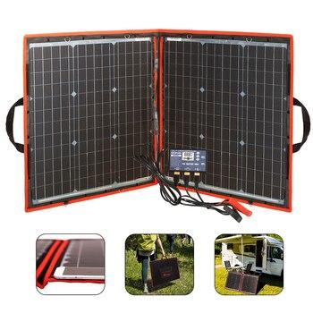 Dokio Flexible Foldable Solar Panel High Efficience Travel & Phone & Boat Portable 12V 80w 100w 150w 200w 300w Solar Panel Kit 2