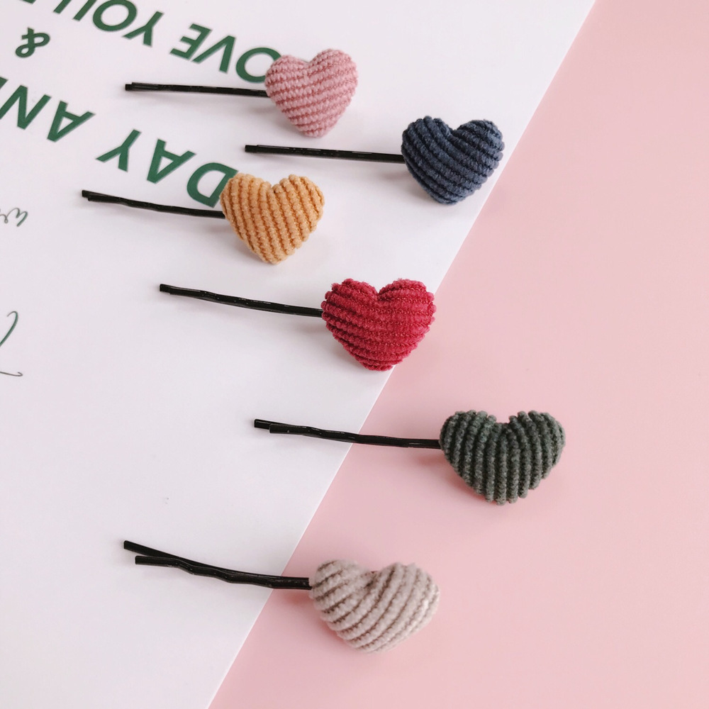 Retro Small Cute Corduroy Five-pointed Star Flower Love Hairpin Japanese Pear Flower Clip Bangs Clip Hairpin Decoration