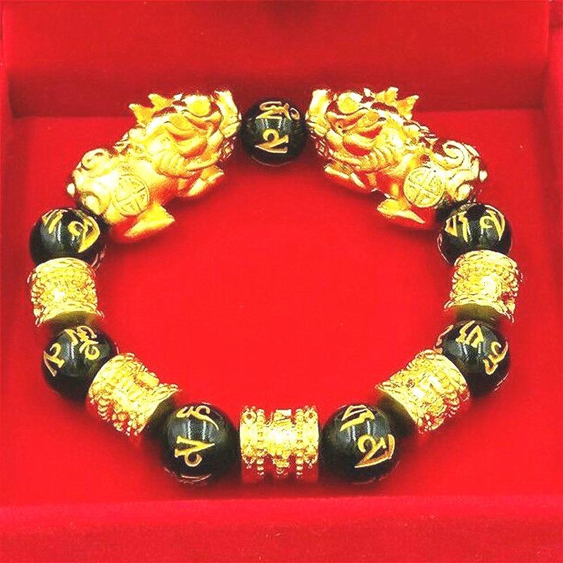 Feng Shui Obsidian Stone Beads Bracelet Men Women Unisex Wristband Gold Black Pixiu Wealth and Good Luck Women Jewelry Bracelet