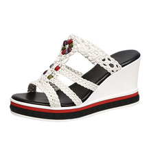 Ladies sandals new fashion casual shoes textile with floral vamp high heel platform high heels soft sole comfortable slippers high quality smile face high vamp shoes