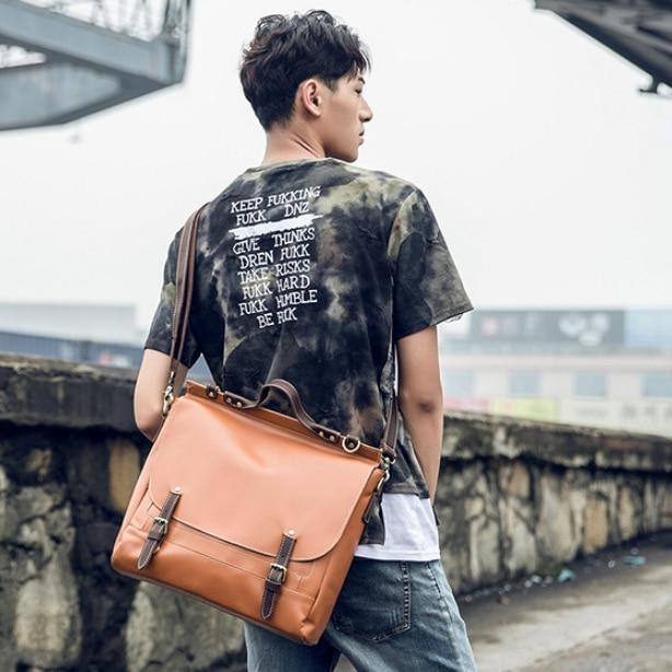 100% Genuine Leather Fashion Briefcase Casual Messenger Bag Men Crossbody Shoulder Vintage Students Bags Bolso Hombre DF110