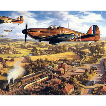 Paint By Numbers Adult Kit RAF WW2 Hurricane Fighter Planes Squadron War
