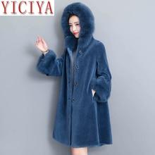 цена на Korean Winter Faux Fur Wool Warm Thick Coat Women With Faux Fur Trim Hood Women Coats And Jackets Plus Size Long Female Jacket