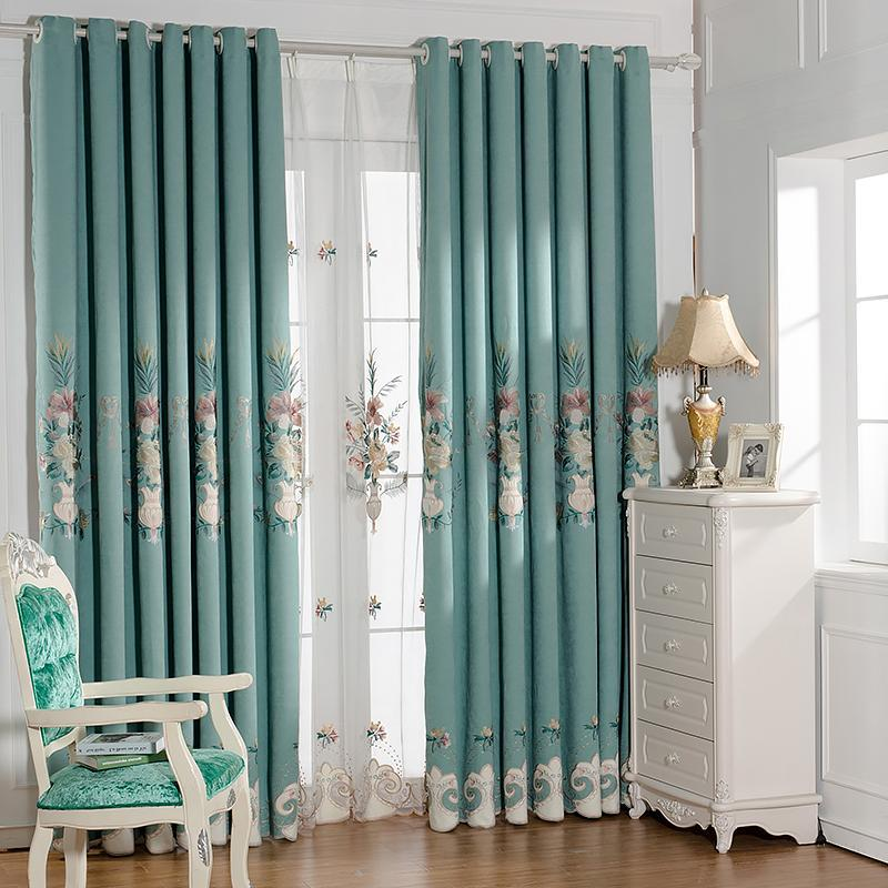 New Chinese Atmosphere Hundred Embroidery Snow Tiffany Curtains For Living Dining Room Bedroom.