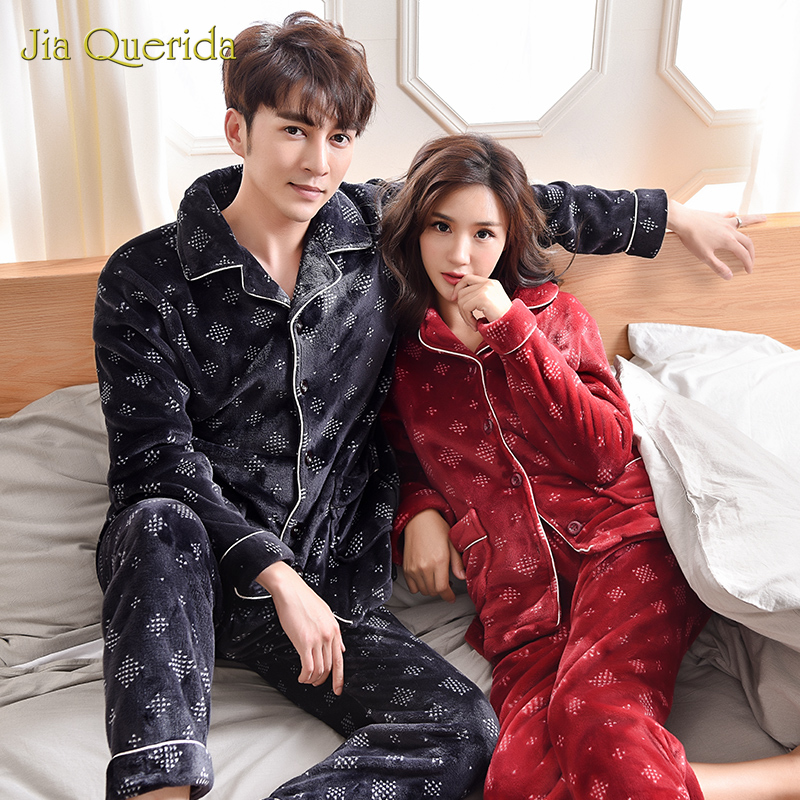 Couple Winter Pijamas Warm Flannel Jujube Red Royal Black Cardigan Loungewear Teddy Style Pocket Long Sleeves Pants Pajamas Set