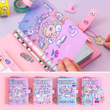 Kawaii A6 Diary Notebook and Journal Cute Laser DIY Agenda Binder Ring Weekly Planner Organizer Spiral Personal Travel Note Book ruize pu leather note book cover spiral notebook a5 planner organizer b5 notebook travel journal diary 6 ring binder stationery