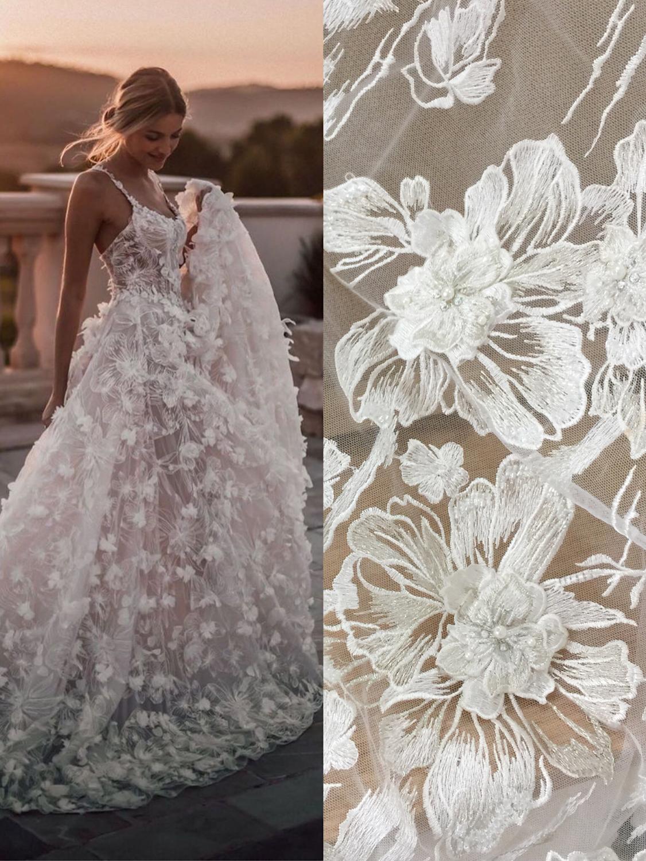 Appliques 3D + perles + fil argenté tulle maille broderie robes de mariée dentelle tissu! 2019 nouveau tissu de dentelle de mariées européennes 1 Yard!