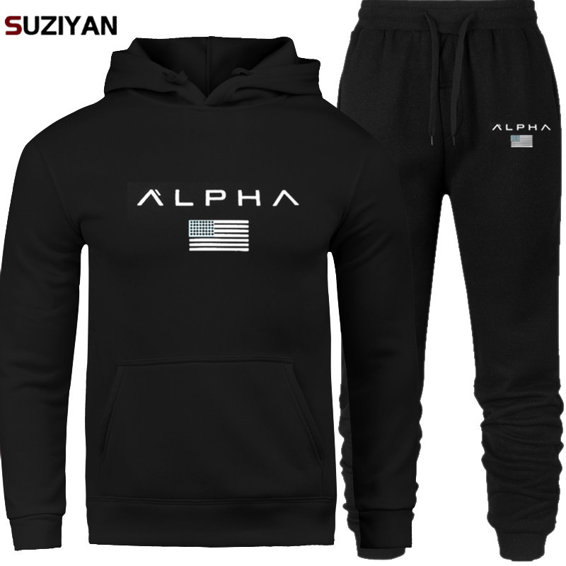 Men's Sets Hoodie And Pants Sweatsuit Male Sportswear Tracksuit Men Set 2019 Brand Sporting Suit Track Sweat Print Alpha Jackets
