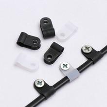 100 шт. пластиковые P зажимы черный крепеж для шланга кабель прочный r-тип нейлоновый зажим для кабеля крепежные детали электрические фитинги