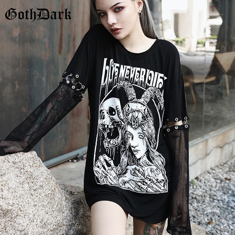 Goth Dark Grunge Punk Gothic T-shrit Women Harajuku Vintage Autumn 2019 Mesh Rivet Aesthetic Female Tshirt Hollow Out Mesh Hole