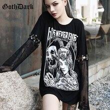 Goth Dark Grunge Punk Gothic T-shrit Women Harajuku Vintage Autumn 2019 Mesh Rivet Aesthetic Female Tshirt Hollow Out Hole