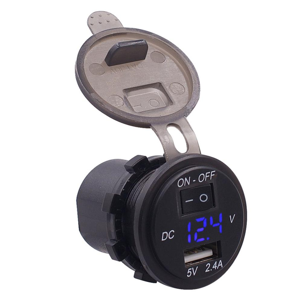 Auto Car Digital Voltmeter 12V Waterproof Volts Gauge Meter USB Mobile Phone Charger with Switch Control