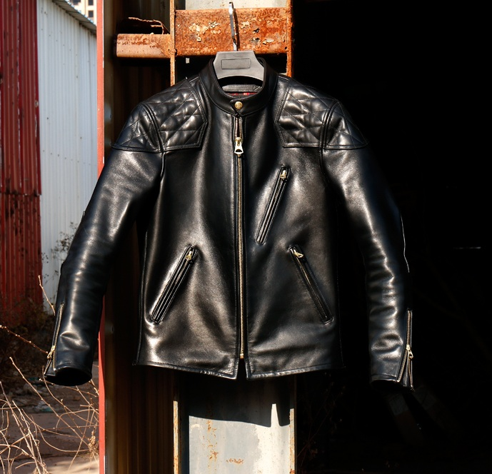 YR!Free Shipping.Luxury Italy Tanned Batik 1.6mm Horsehide Jacket,fashion Motor Style,cool Mens Hard Genuine Leather Coat,