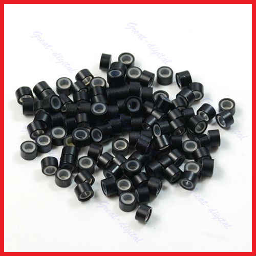 Lote de 100 Uds Micro anillo de silicona extensiones de cabello pluma cuentas de engarce herramientas de estilismo Accesorios marrón caqui negro blanco