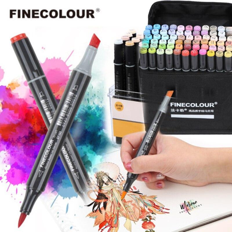 FINECOLOUR EF103 çift kafaları profesyonel sanat Markers kalem yağlı alkollü işaretleyici 12/24/36/48/60 /72/240 renk yumuşak kafa yuvarlak çubuk