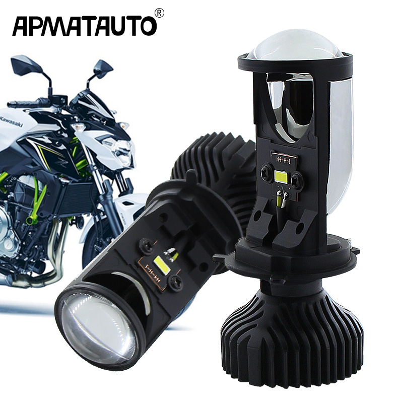 1pcs Motorcycle 12V H4 Hi/Lo Projector Lens Beam Moto LED Headlight White For Kawasaki Z650 / Vulcan S 650/ VersyX300