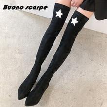 Buonoscarpe/женские пикантные черные замшевые сапоги до бедра; модельные туфли-лодочки на тонком высоком каблуке; танцевальные сапоги для девочек в ночном клубе; Туфли-гладиаторы
