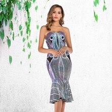 Sexy Shining Sequin Mermaid Dress Women Strapless Slim bandage Bodycon Dress Elegant Off Shoulder party night Club maxi dress цена