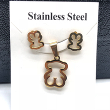 Gold Color Stainless Steel Bear Pendant Necklace Earrings Sets Heart Clover Cross Bear Charm Necklace Jewelry Sets for Women newest stainless steel fashion heart jewelry 2 colors necklace and earrings sets for women sbjjgbed