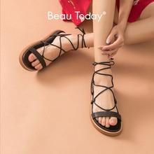 BeauToday Gladiator Sandals Women Genuine Leather Cross-Tied
