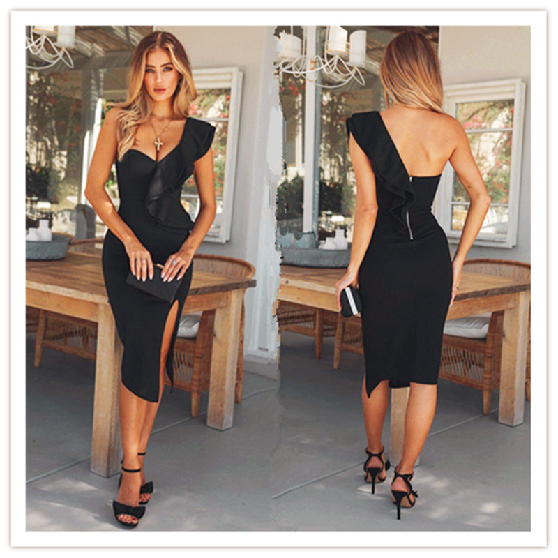 Women One Shoulder Bandage Dress Elegant Ruffles Red Bandage Dress Bodycon Sexy Party Night Club Dress With 3colors Fashion