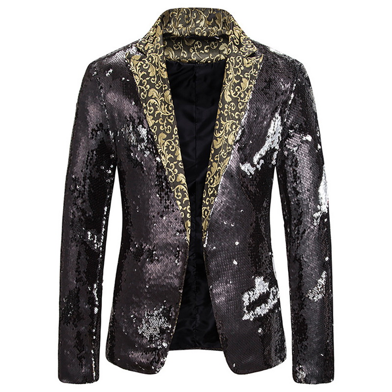 2020 New Men's Two-tone Sequin Suit Stage Performance Suit Wild Suit Lapel Blazer Jacket DJ Club Stage  Nightclub Clothes