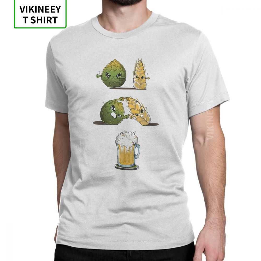 Beer Fusion Men T Shirt Bar Alcohol Ale Drink Funny Tees Short Sleeve Crew Neck T-Shirts 100% Cotton Gift Idea Clothes