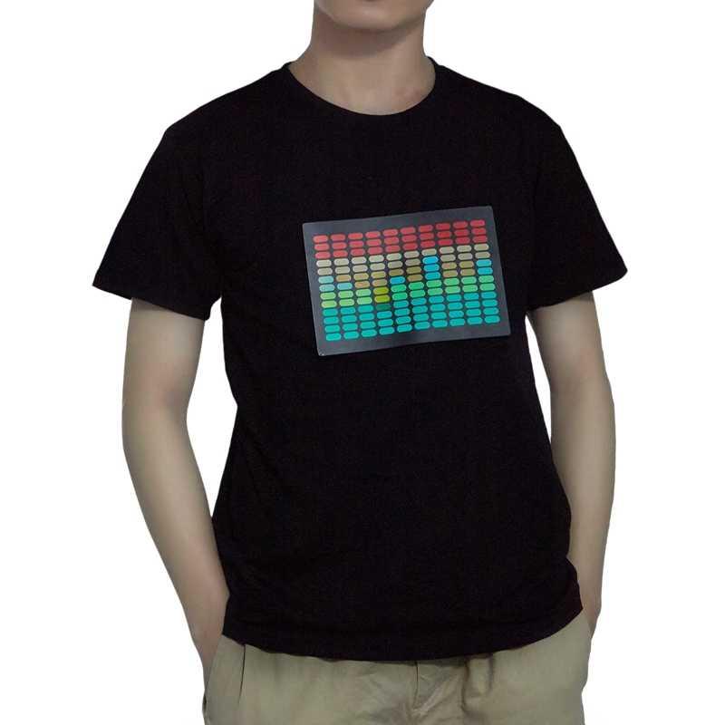 الرجال الصوت المنشط الصمام تي شيرت تضيء اللمعان الصخرة ديسكو المعادل قصيرة كم Led T قميص M