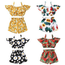 2020 Toddler Kids Baby Girl Clothes Set Summer Short Sleeve Strap Daisy Floral Tops T-Shirt Shorts Outfits Clothing 2PCs 2pcs fashion toddler baby girls summer short sleeve tops t shirt denim hole roses floral dress skirt summer outfits clothes set