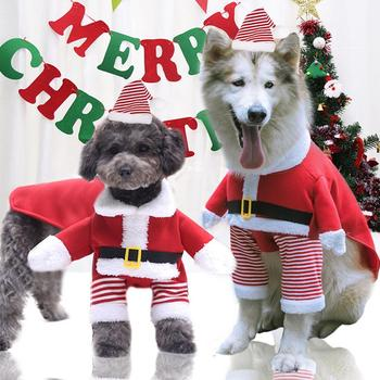 Small Large Dogs Pet Cat Cute Christmas Santa Claus Clothes Plus Size Warm Outfit Costume Set Cosplay image
