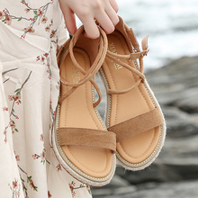 2020 New Beach Shoes Woman Genuine Leather Sandals for Women Outdoor Cross Strap Retro Buckle Female Flat Hot Sale