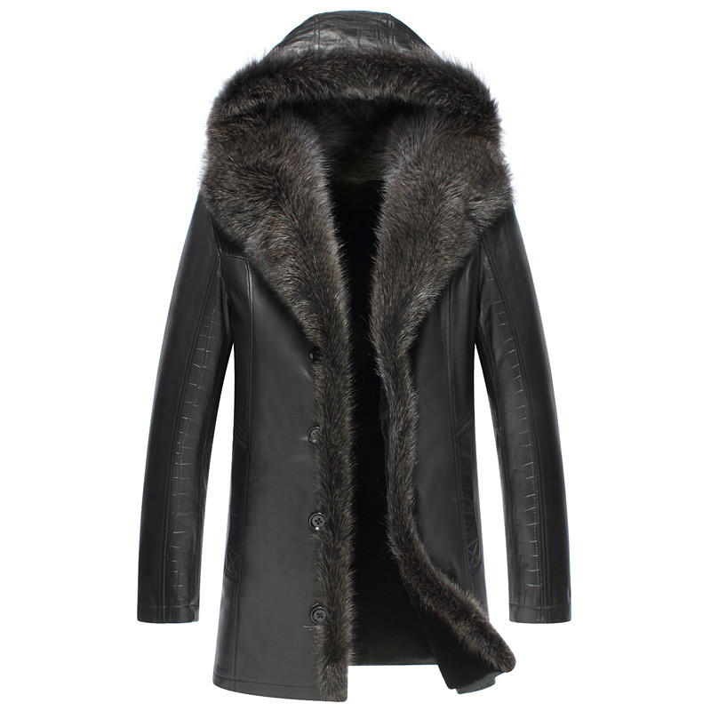 Winter Genuine Leather Jacket Men Real Sheepskin Coat For Men Wool Lining Raccoon Fur Collar Warm Luxury Coat 3125
