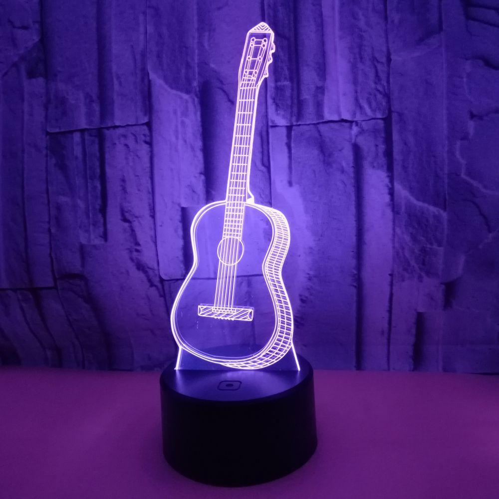 3D Guitar Modeling Night Light 7 Colors Change LED Table Lamp Touch Light Home Table Bookshelf Decor