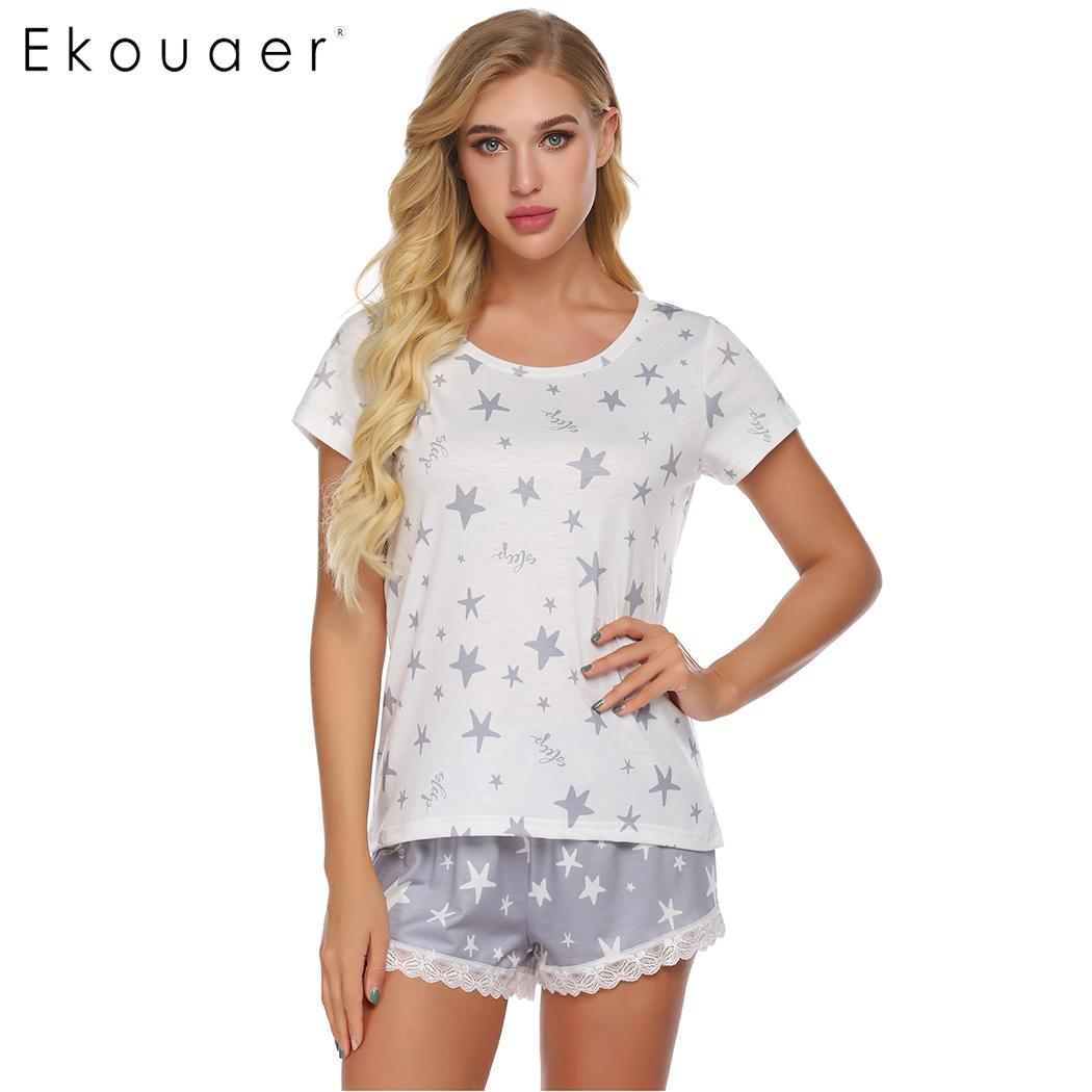 Ekouaer Women Nightwear Pajama Short Sets Summer O-Neck Short Sleeve Nightshirt Lace Loose Shorts Home Nightwear PJ Set