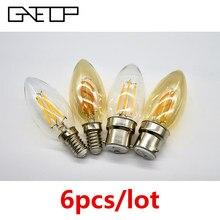 6 unids/lote bombilla de filamento C35 4W Retro Edison bombilla E14 B22 Bombillas de 220V-240V lámpara Vintage 2700K 4000K de la decoración del hogar