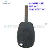 Remtekey Remote key 3 button 434MHZ ASK ID46 PCF7947 VA6 blade for Renault Clio Kangoo Modus Master Twingo key whatskey 1 button remote car key shell fob case cover for renault twingo clio master scenic kangoo vac102 blade replacement