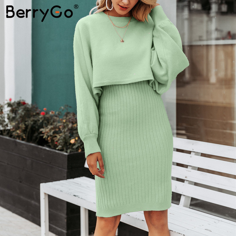 BerryGo Elegant 2 Pieces Women Knitted Dress Solid Bodycon Sweater Dress Autumn Winter Ladies Pullover Work Wear Sweater Suit