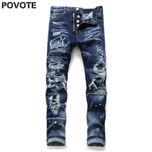 POVOTE brand men's Italian jeans slim pants zipper Blue Hole pencil men