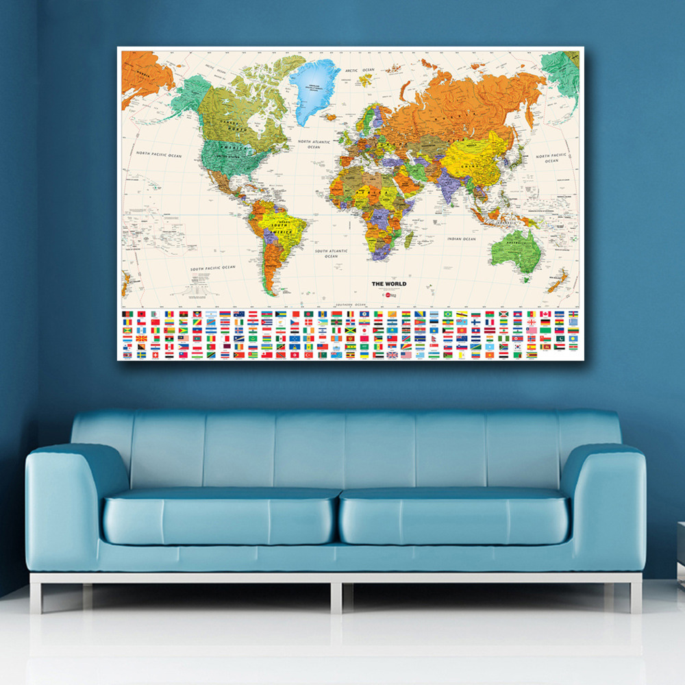 Colorful World Travel Map With National Flag Poster Size Wall Decorations Large Map Of The World 60x80cm Waterproof Canvas Map