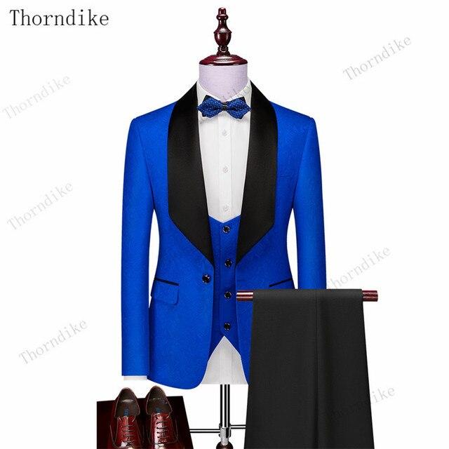 Thorndike Mens Wedding Suits  White Jacquard With Black Satin Collar Tuxedo3 Pcs Groom Terno Suits For Men(Jacket+Vest+Pants) 6