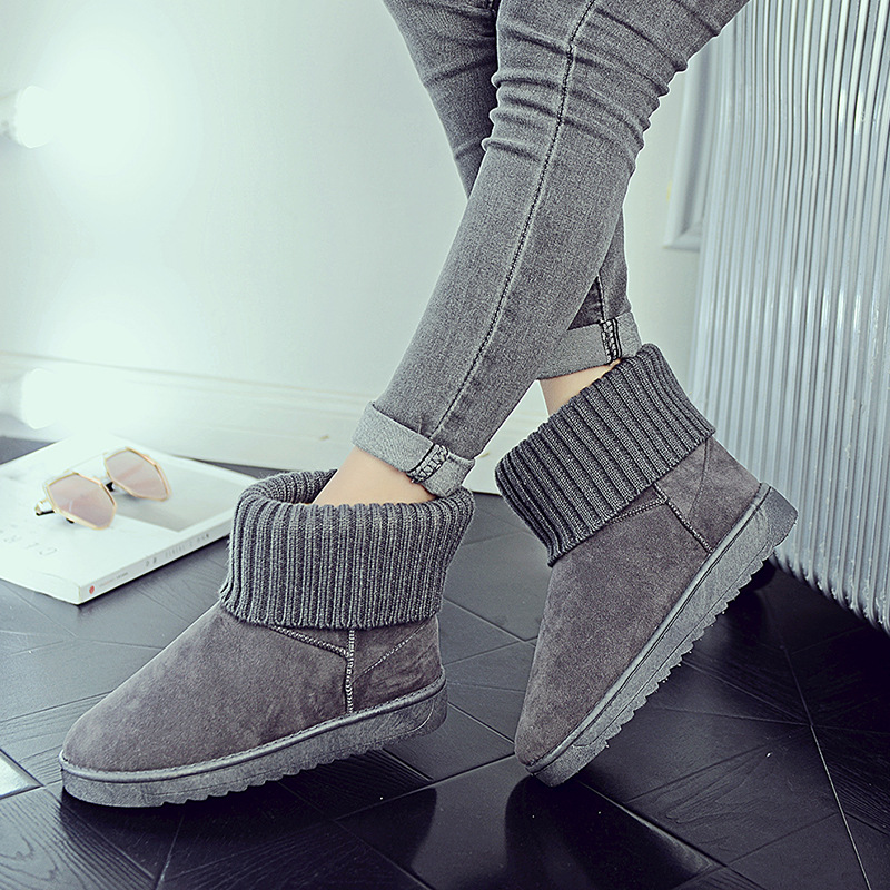 Women's new snow boots winter fashion wild classic women's shoes simple warm non-slip waterproof wool shoes ladies ankle boots 80