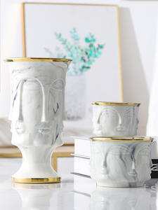Ceramic Vase Flower-Pot Marble Home-Decoration-Accessories Face-Shape Gold Nordic Designs
