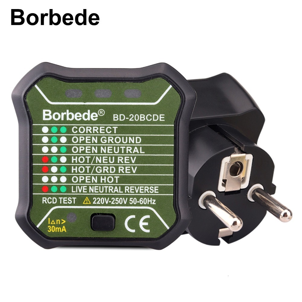 Borbede Socket Tester EU 220V Circuit Finder Tester Plug Automatic Electric Power Circuit Polarity Voltage Detector Leakage Test
