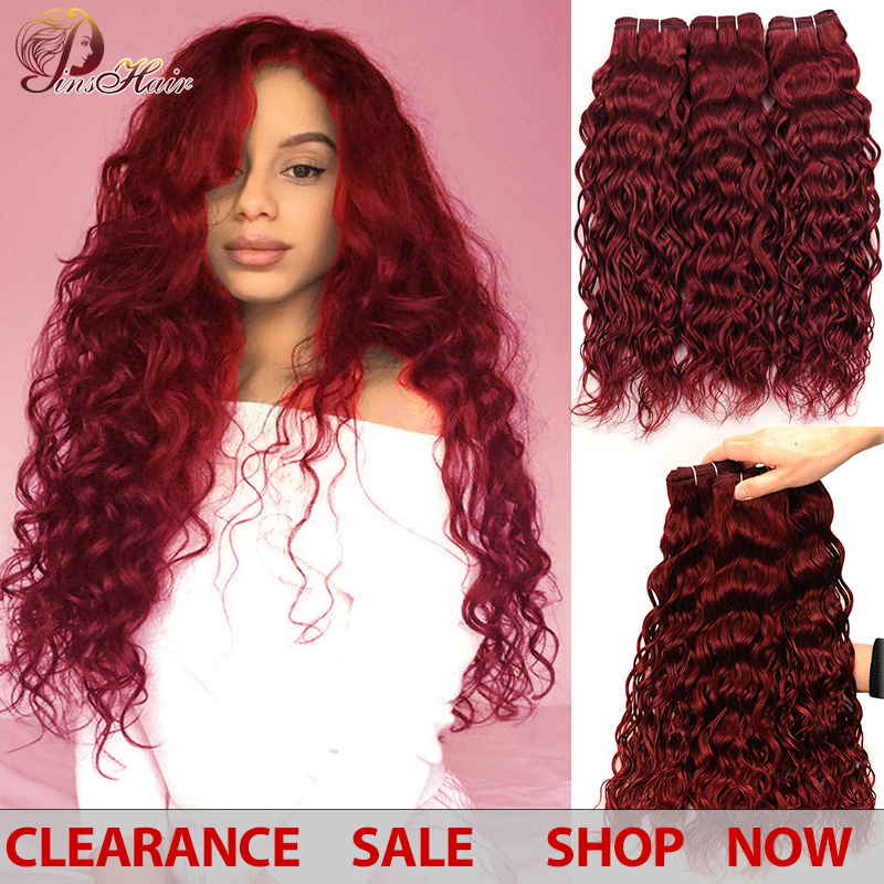 Pinshair Burgundy Bundles Red Peruvian Water Wave Hair 3 Bundles 99J 100 Human Hair Weave Extensions Thick Bundles Non-remy Hair