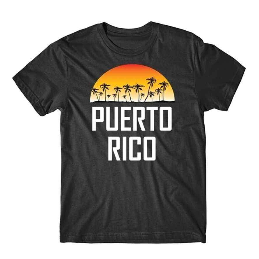 Puerto Rico Sunset And Palm Trees Beach Vacation T-Shirt Funny Tee Shirt image
