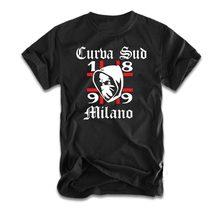 2018 nova manga curta casual curva sud milano camiseta ultras milan camiseta superior 100% algodão